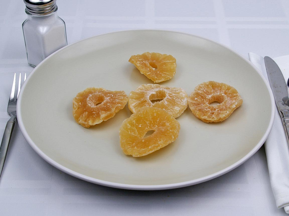 Calories in 5 piece(s) of Pineapple - Dried