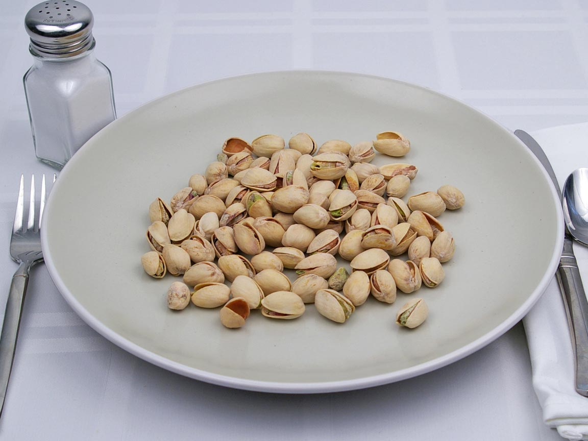 Calories in 0.89 cup(s) of Pistachio Nuts - Salted