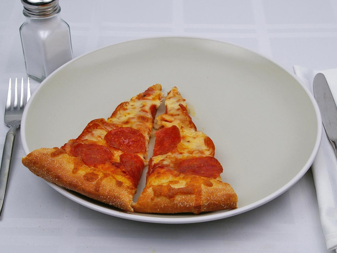 Calories in 1 slice(s) of Pizza - Pepperoni - Reg Crust - Large - 14 inch