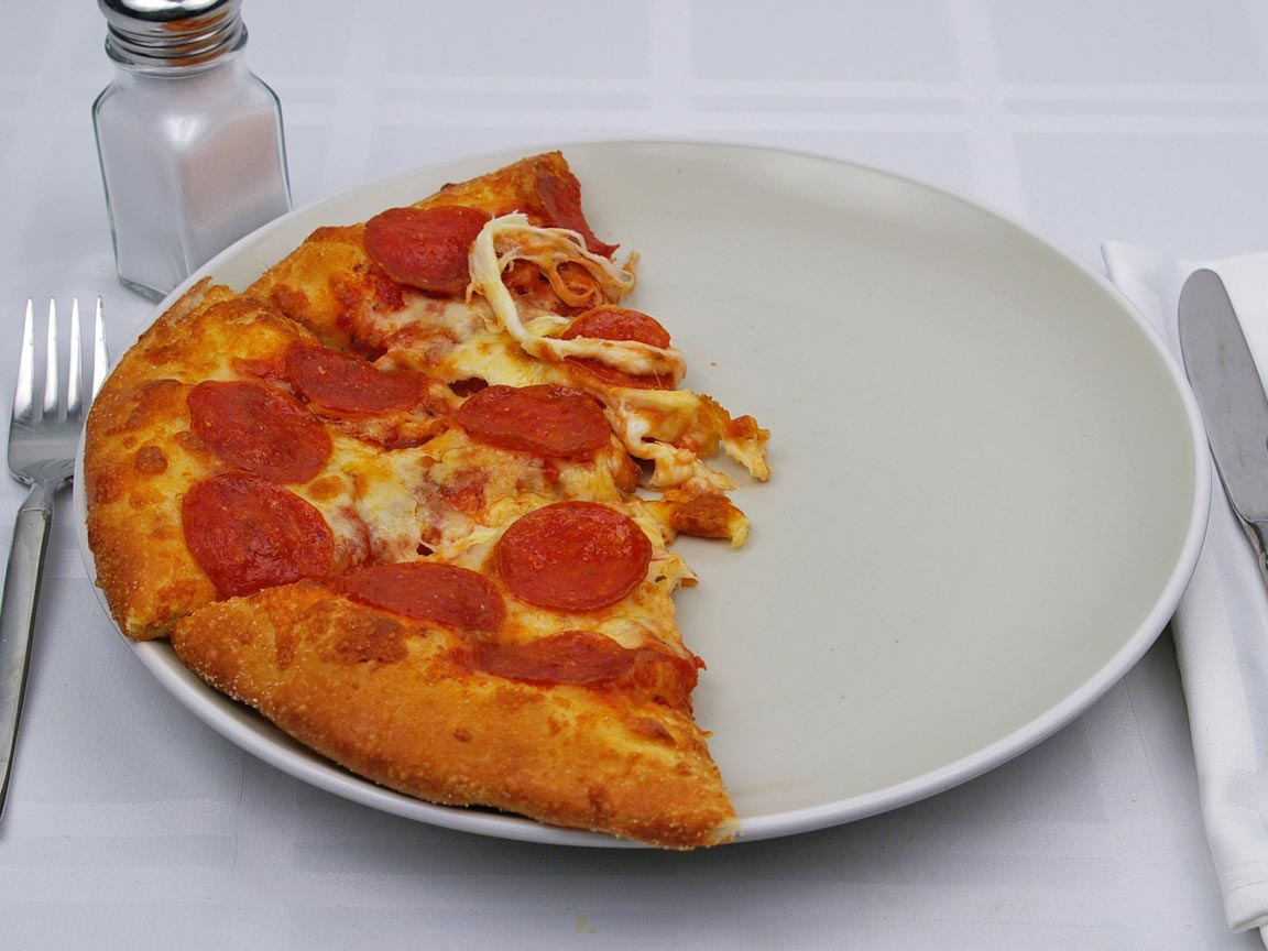 Calories in 3 slice(s) of Pizza - Pepperoni - Reg Crust - Small -10 inch