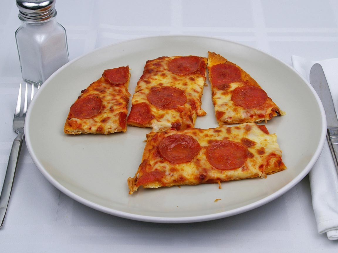 Calories in 4 slice(s) of Pizza - Pepperoni - Thin Crust - Avg