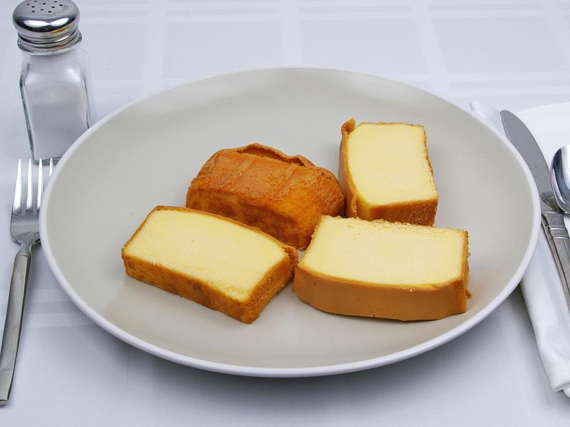 Calories in 4 piece(s) of Pound Cake - Avg