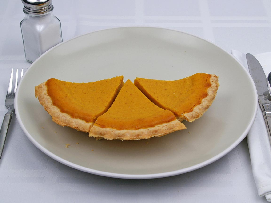 Calories in 3 slice(s) of Pumpkin Pie - No Sugar Added