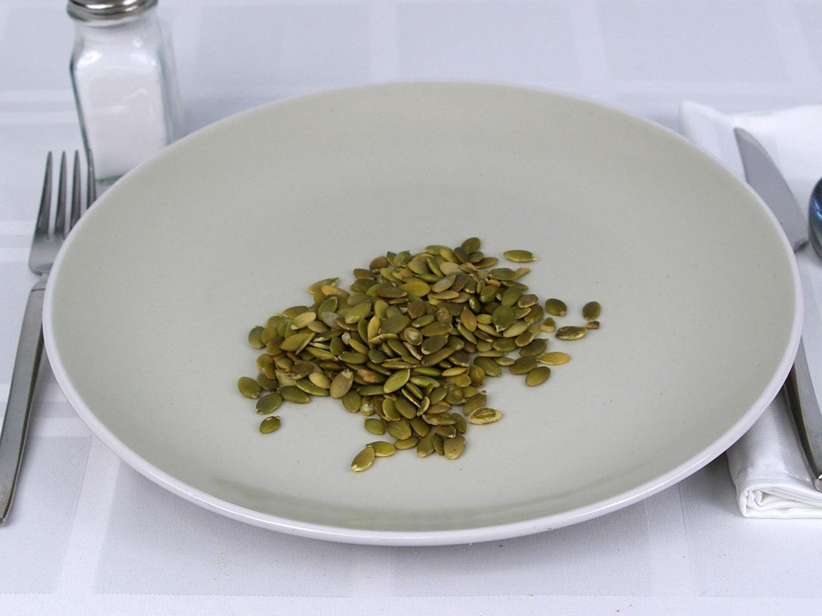 Calories in 0.25 cup(s) of Pumpkin Seeds Shelled