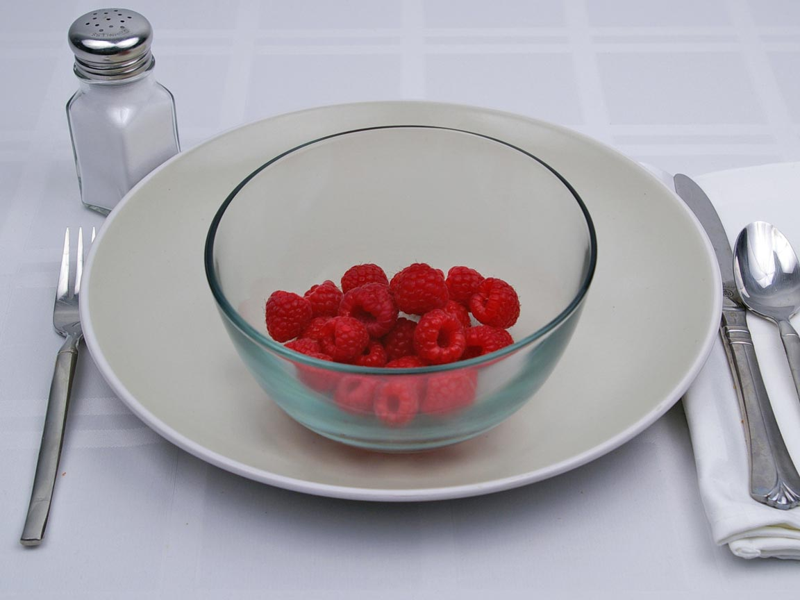 Calories in 0.69 cup(s) of Raspberries
