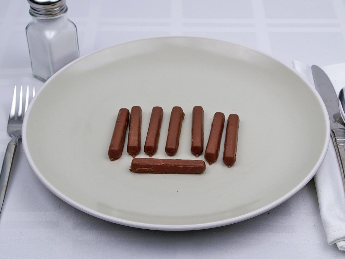 Calories in 8 stick(s) of Milk Chocolate Raspberry Sticks