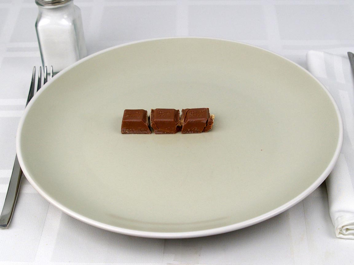 Calories in 3 piece(s) of Ritter Sport Milk Chocolate Bisciut