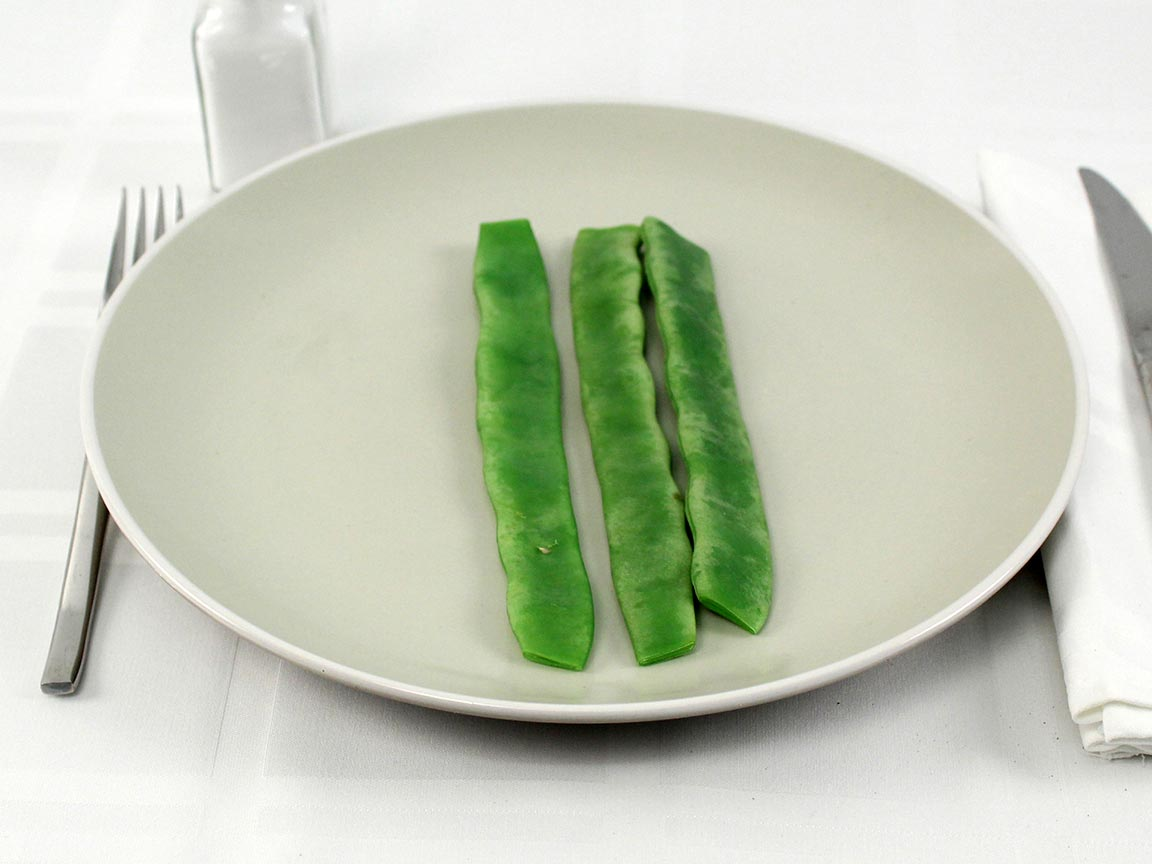 Calories in 3 bean(s) of Romano Beans Raw