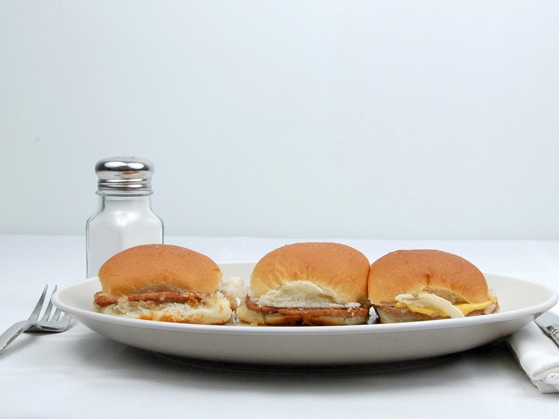 Calories in 3 slider(s) of Sliders - Hamburgers