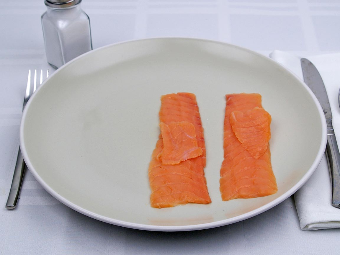 Calories in 56 grams of Salmon - Smoked - Lox