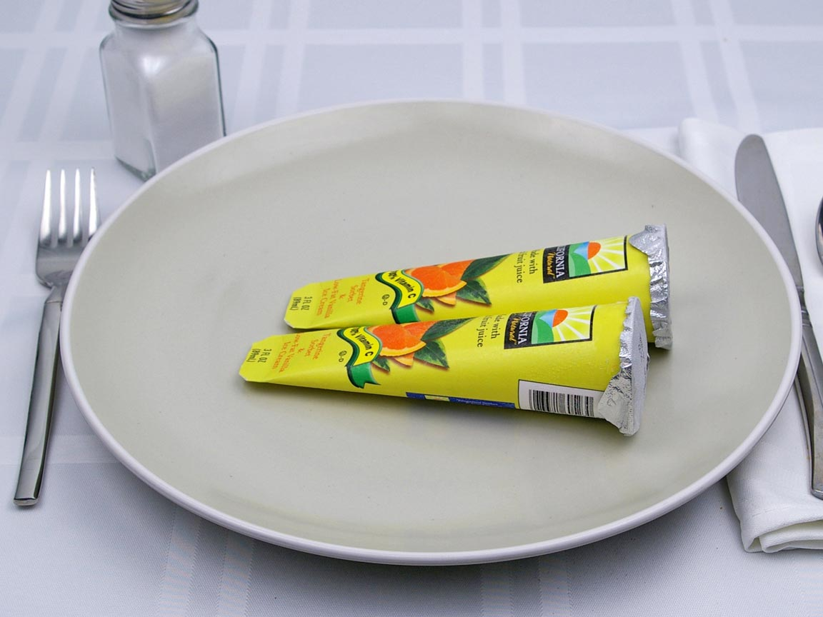 Calories in 2 tube(s) of Sorbet and Low Fat Vanilla Ice Cream Tubes