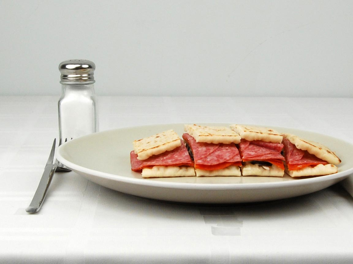 Calories in 1 sandwich(s) of Subway Flatbread Sp Italian Cheese No Mayo