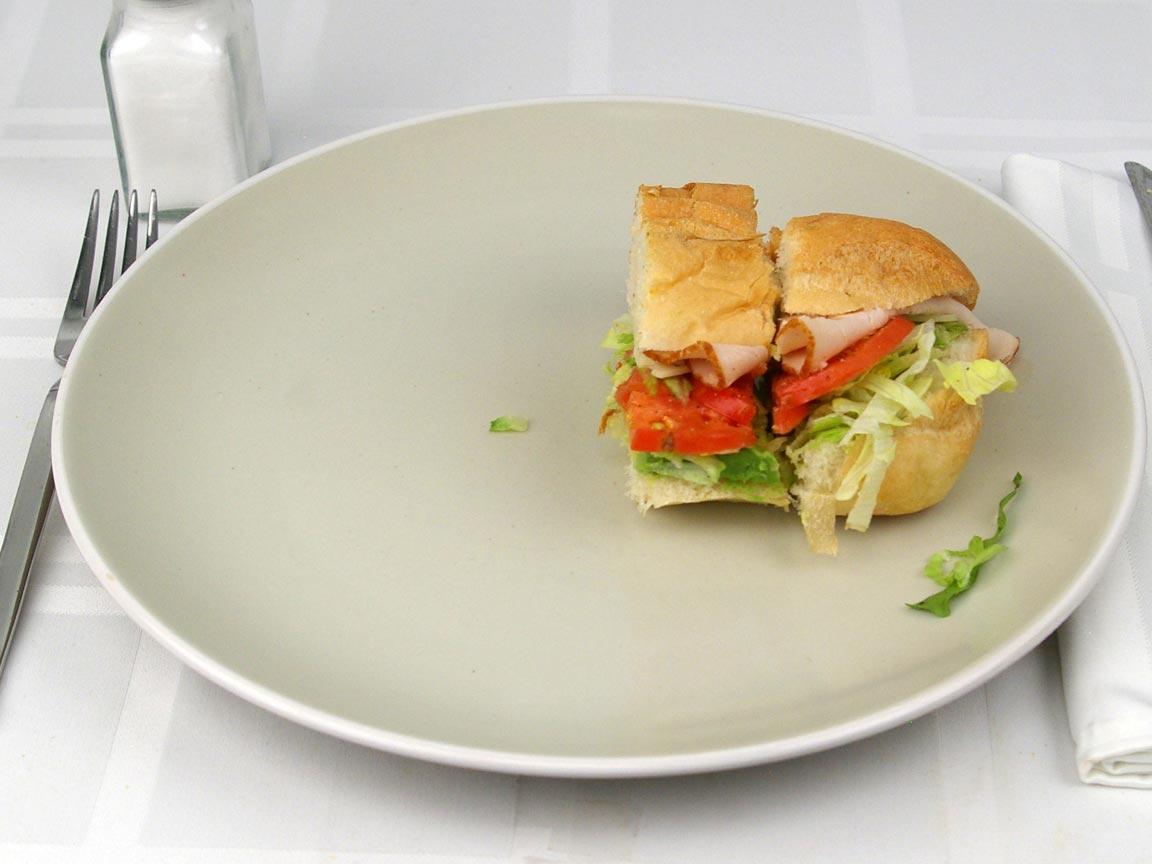 Calories in 0.5 sandwich(s) of Subway Turkey Avocado Swiss No Mayo