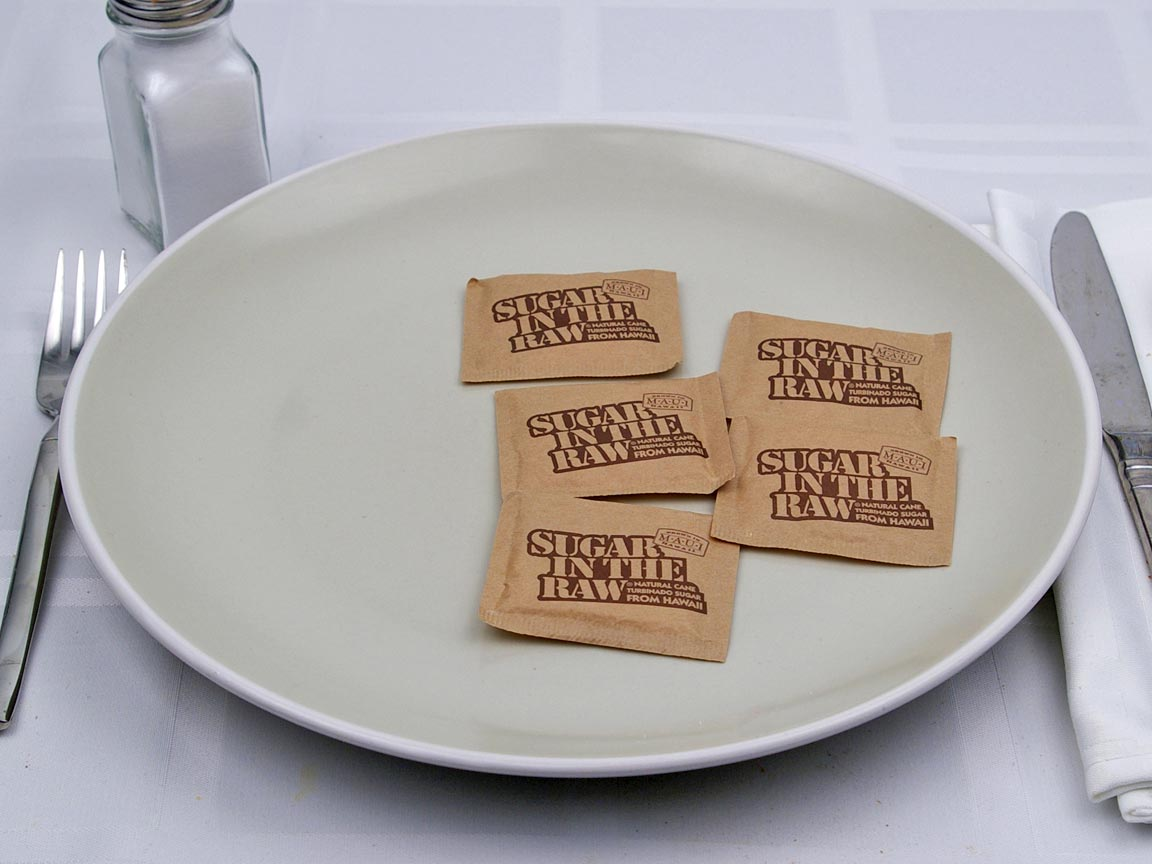 Calories in 5 packet(s) of Raw Sugar Packets