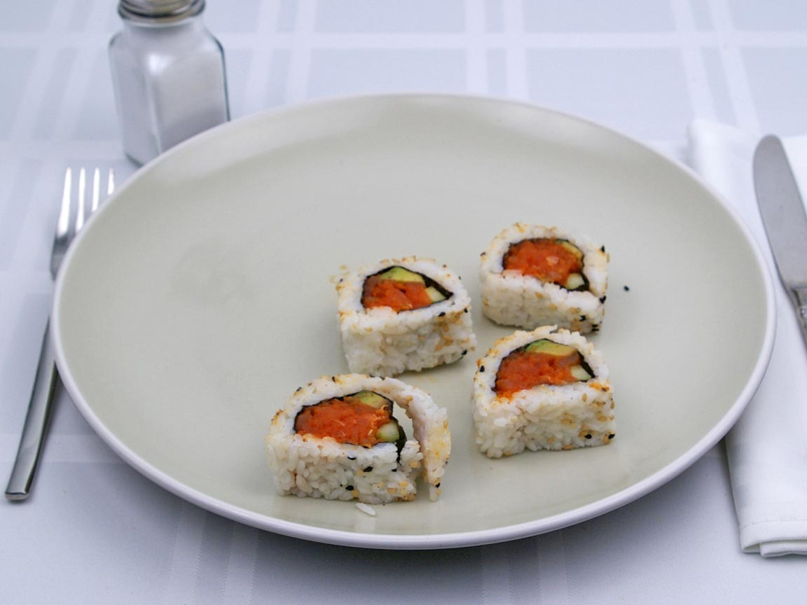 Calories in 4 piece(s) of Sushi - Spicy Tuna Roll
