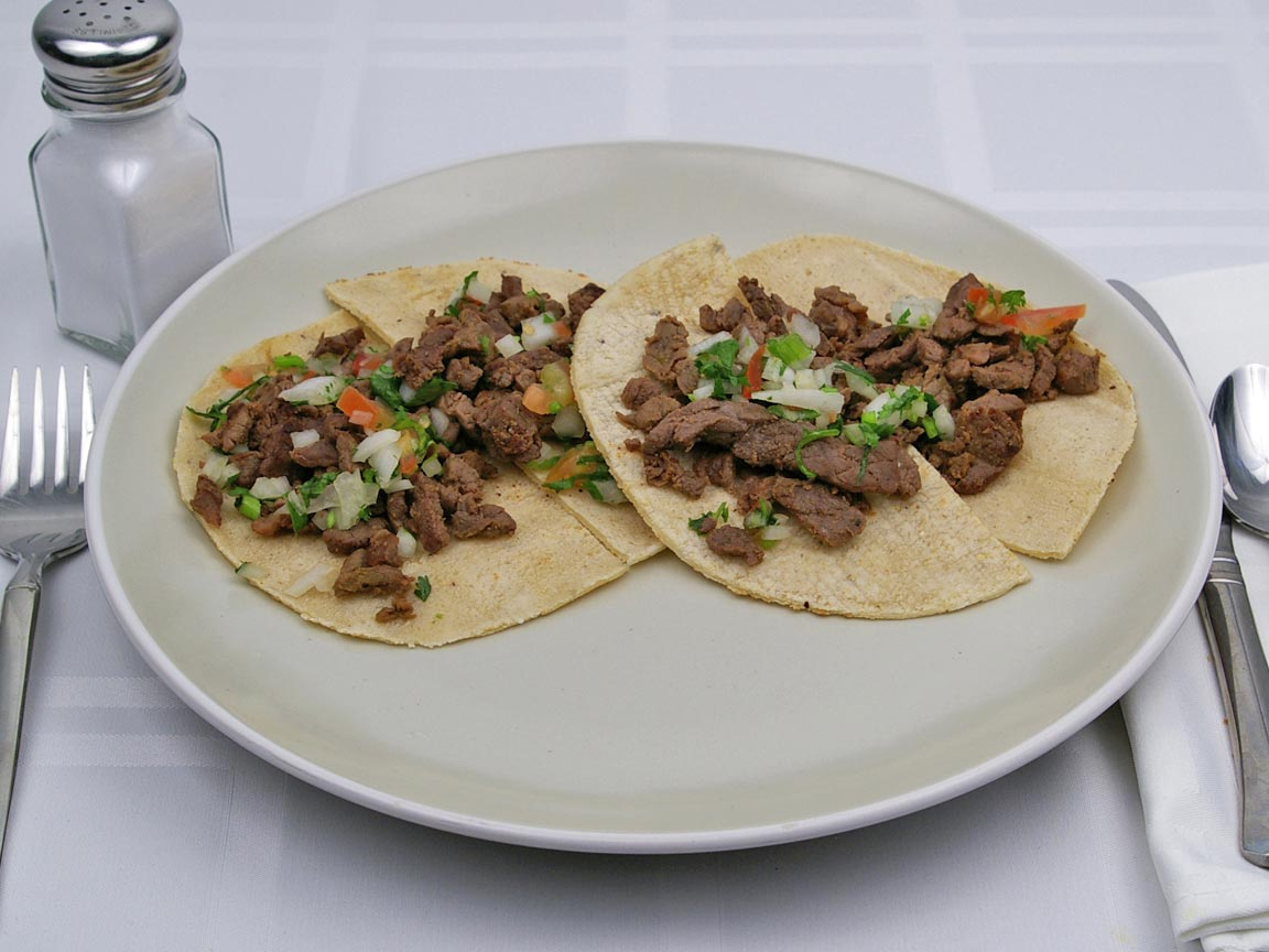 Calories in 2 taco(s) of Carne Asada Taco - Corn Tortilla