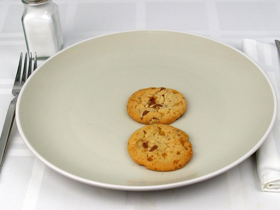 Calories in 2 cookie(s) of Thin Milk Chocolate Toffee Cookies