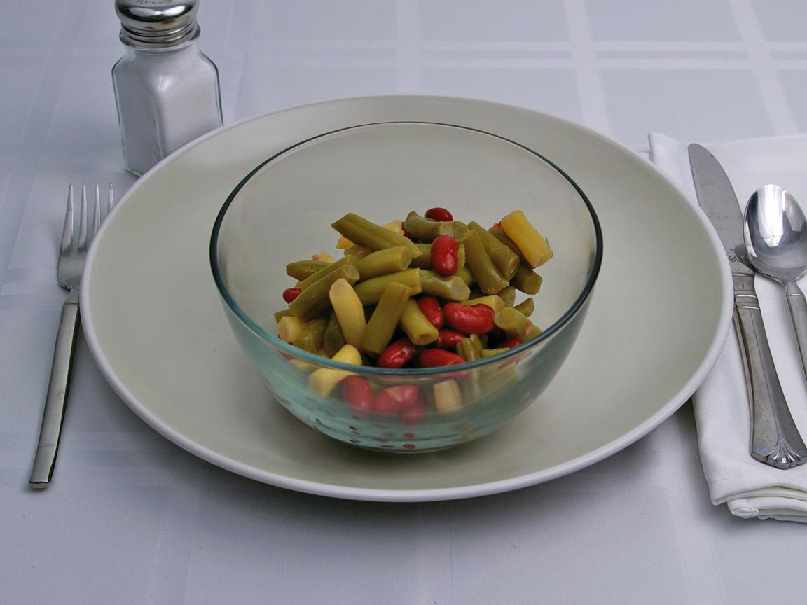 Calories in 1.25 cup(s) of Three Bean Salad