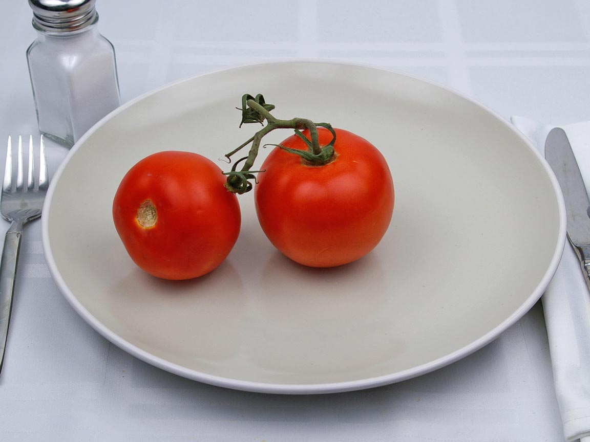 Calories in 2 fruit(s) of Tomatoes - Whole