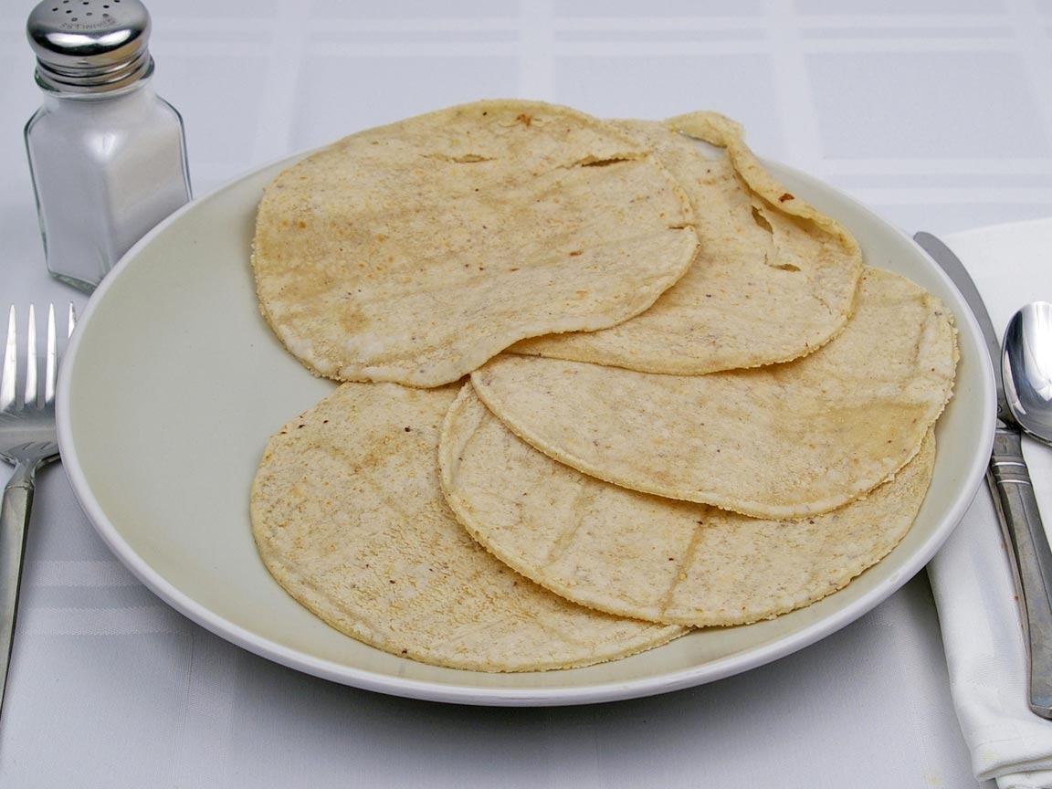Calories in 5 tortilla(s) of White Corn Tortilla