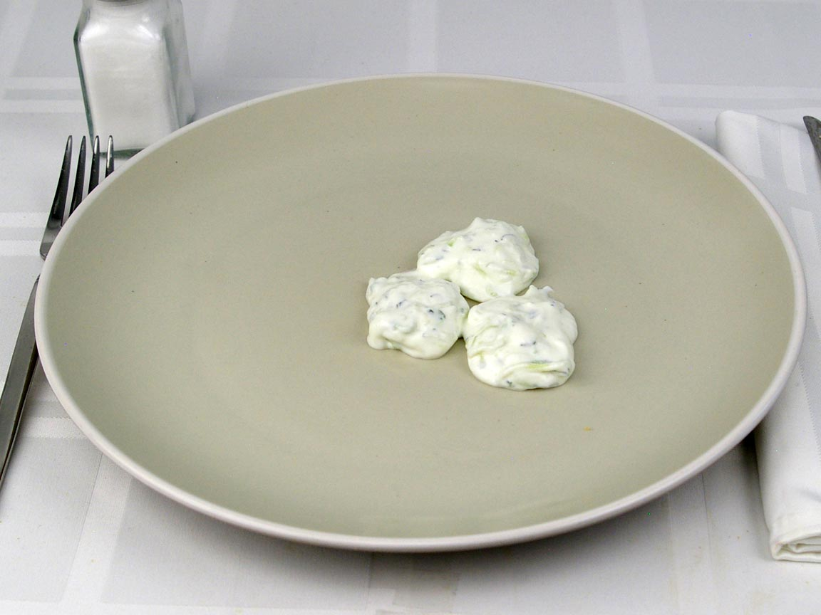 Calories in 3 Tbsp(s) of Tzatziki - Greek Yogurt Dip