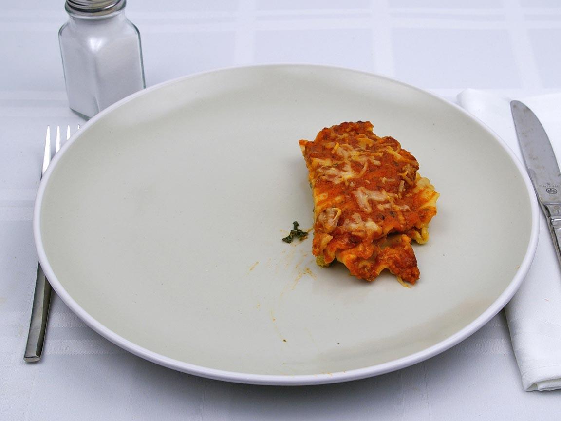 Calories in 0.5 serving(s) of Lasagna - Vegetable  - Avg