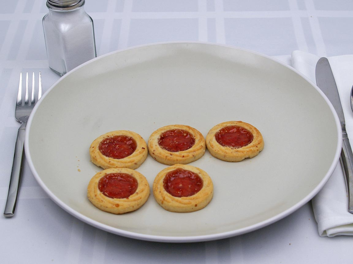 Calories in 5 cookie(s) of Thumbprint Cookie - Strawberry