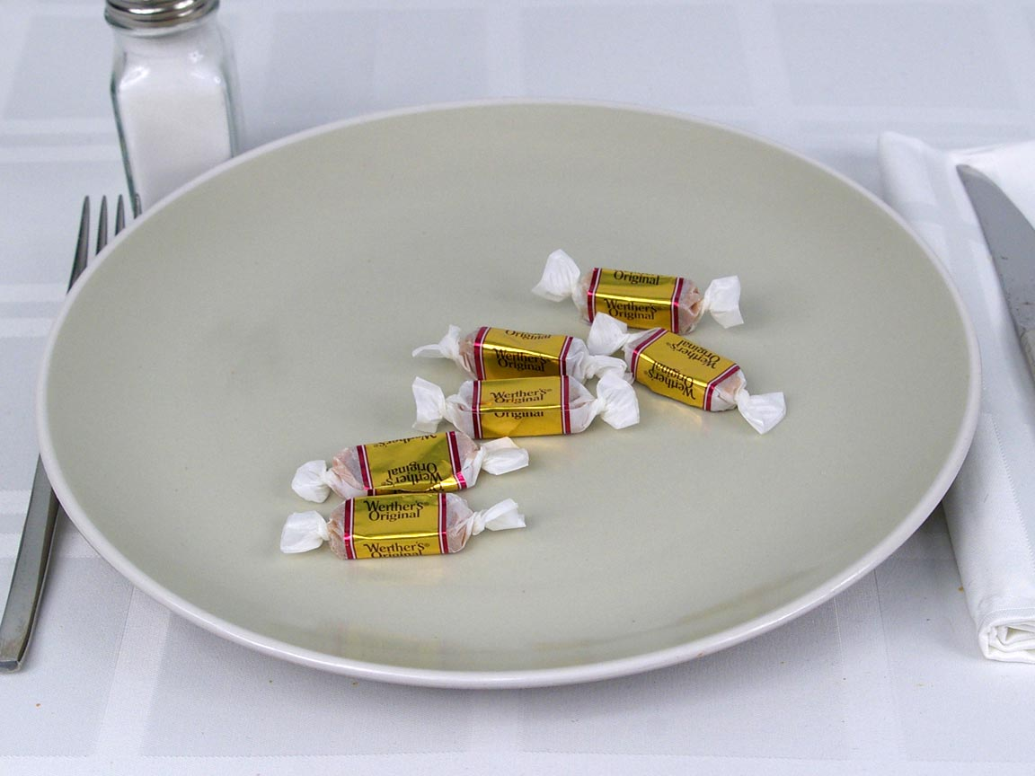 Calories in 6 ea(s) of Werther's Soft Caramels