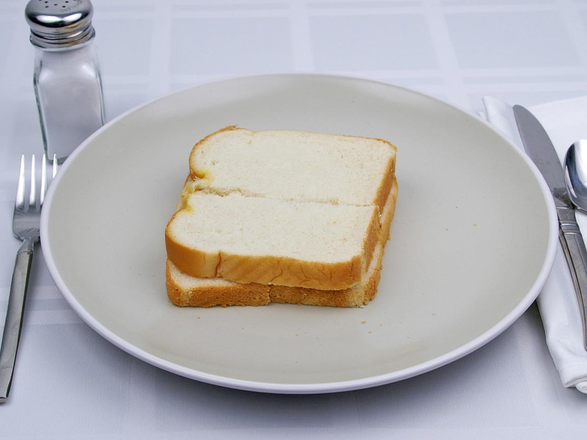 Calories in 2 slice(s) of White Bread -  Reduced Calorie - Avg