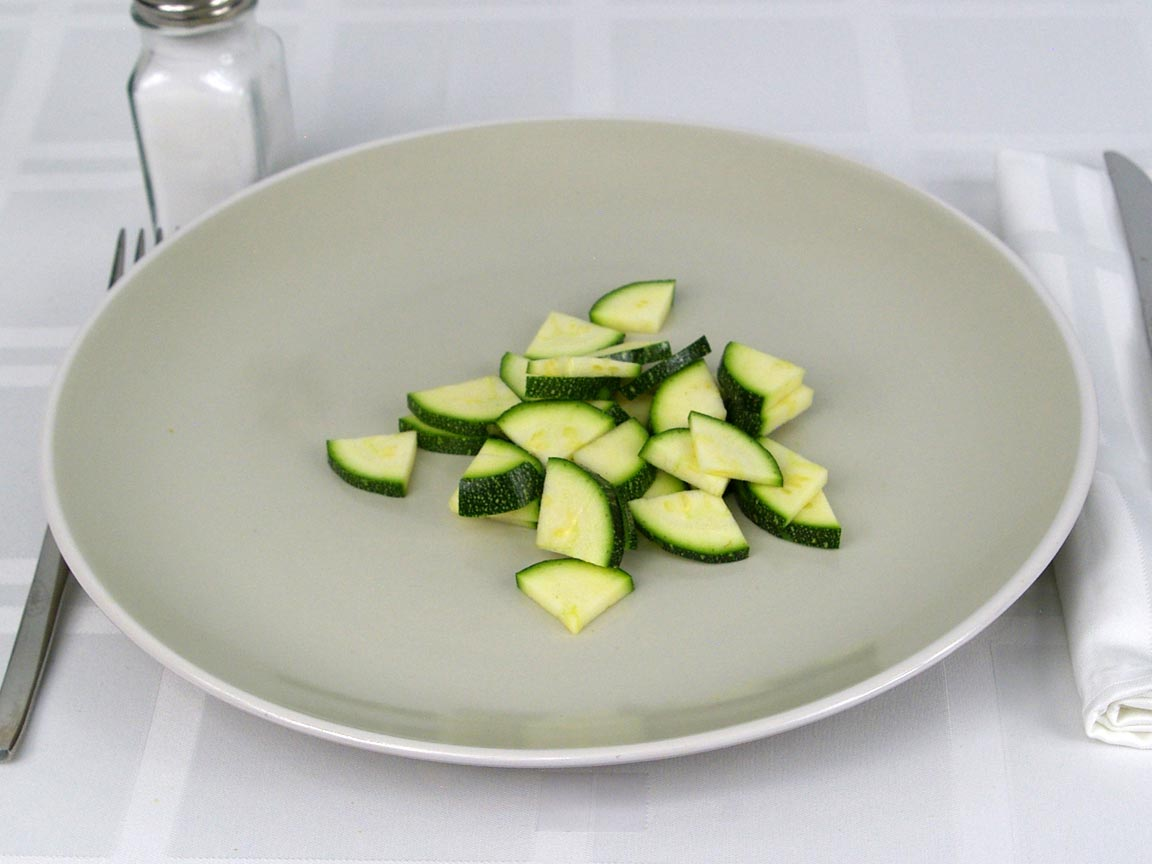 Calories in 0.5 cup(s) of Zucchini - Fresh - Chopped